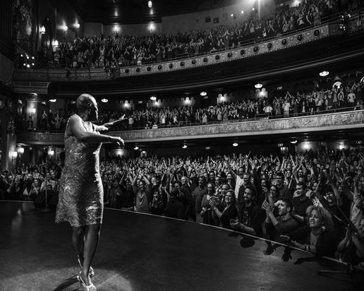 Sharon Jones performs at the Beacon Theater in Barbara Kopple's MISS SHARON JONES!, playing at the 59th San Francisco International Film Festival, April 21st - May 5th, 2016.