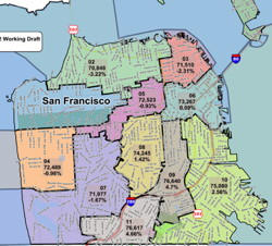 In Final Week, S.F. Redistricting Tinkers At the Edges ... on sf hospital map, sf building map, sf county map, sf metro map, sf mission map, sf chinatown map, sf bus map, sf street map, sf international map, sf area map, sf zip code map, sf airport map, sf general map, sf city map, sf bart map, union square sf map, sf downtown map, sf board map, sf california map, sf zoo map,
