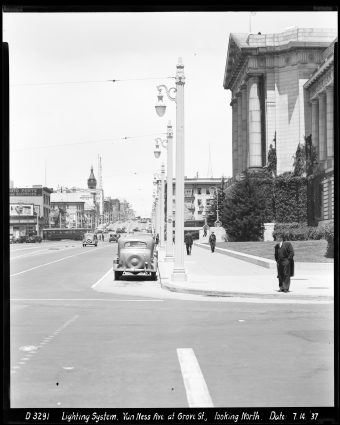 Looking North on Van Ness Avenue at Grove Street with New Street Lighting System | July 14, 1937